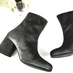 Free People Cecile Velvet Gray Ankle Boots 38